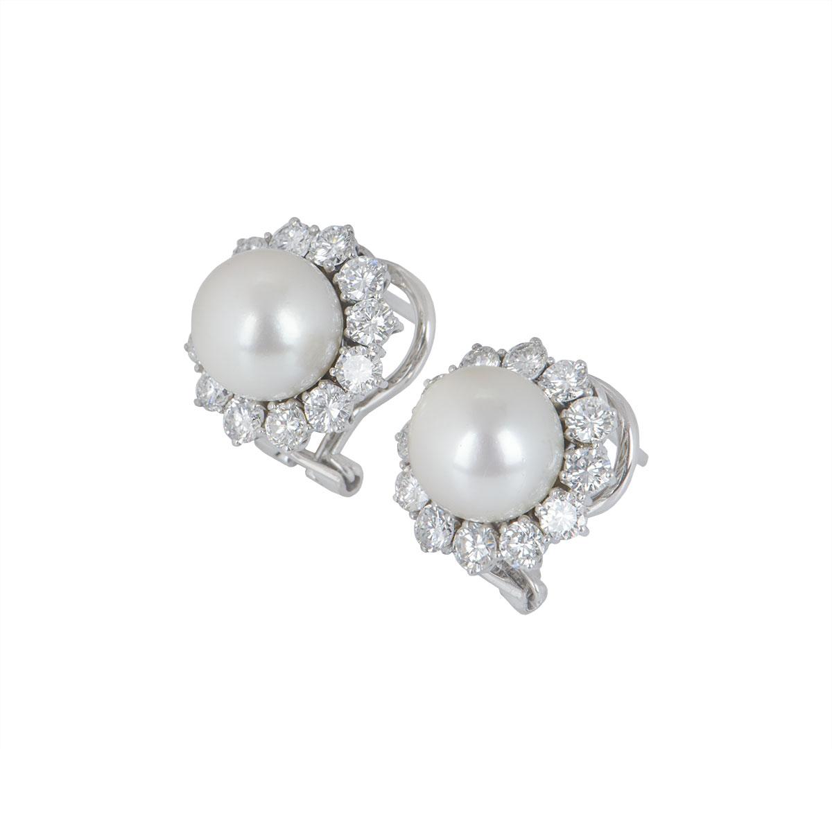 White Gold Diamond & Pearl Earrings